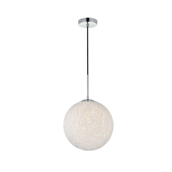 Timeless Home Malaki 1-Light Pendant in Chrome and White with 11.8 in. W x 11.8 in. H Shade