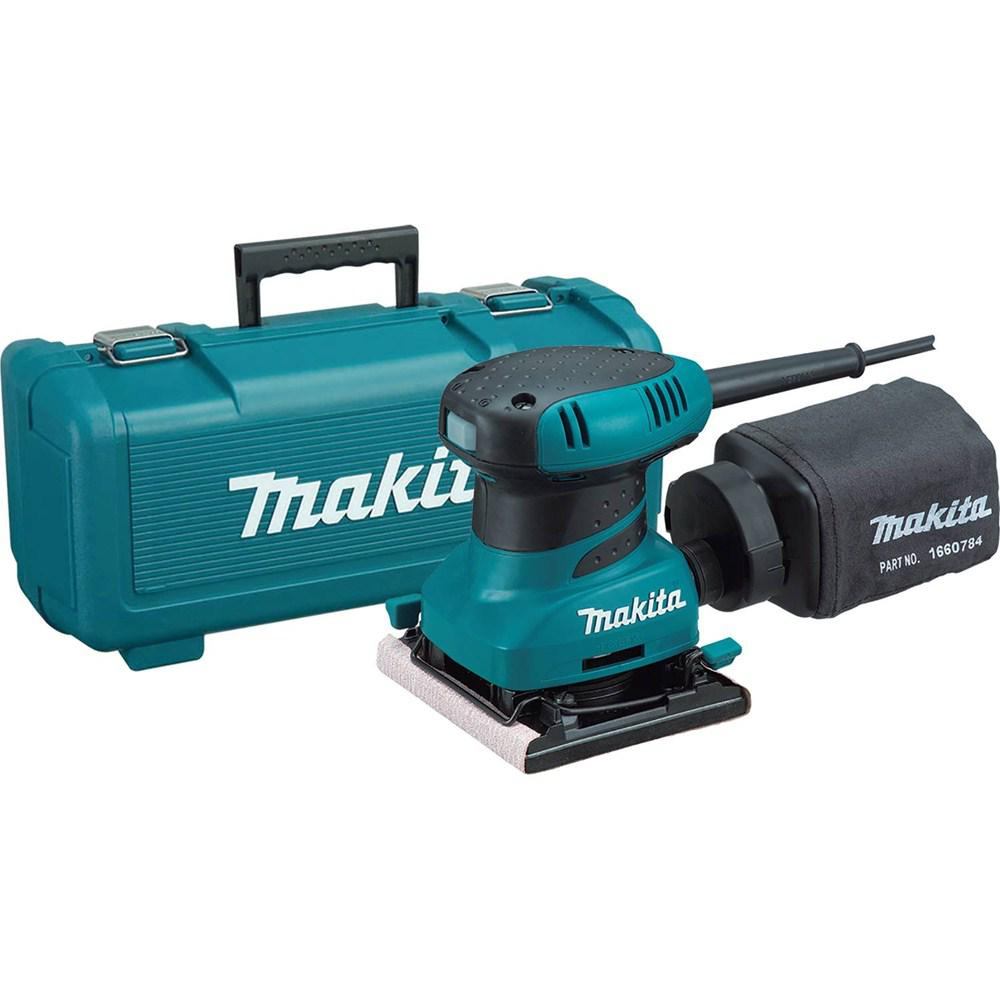 Makita 2 Amp Corded 1/4 Sheet Finishing Sander with 60G Paper, 100G Paper, 150G Paper, Dust Bag, Punch Plate, Hard Case