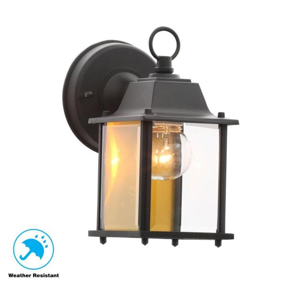 Hampton Bay 1 Light Black Outdoor Wall Lantern Sconce Bpm1691 Blk The Home Depot