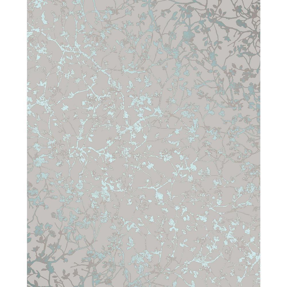 Palatine Teal Leaves Wallpaper Sample