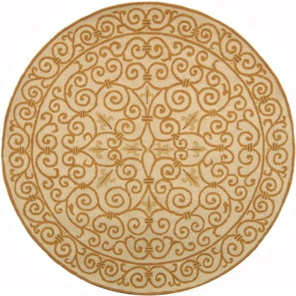 Safavieh Chelsea Ivory Gold 6 Ft X 6 Ft Round Area Rug Hk11p 5r The Home Depot