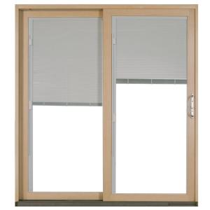 JELD WEN 72 In. X 80 In. W 2500 White Clad Wood Left Hand Full Lite Sliding  Patio Door W/Unfinished Interior U0026 Blinds P73407   The Home Depot