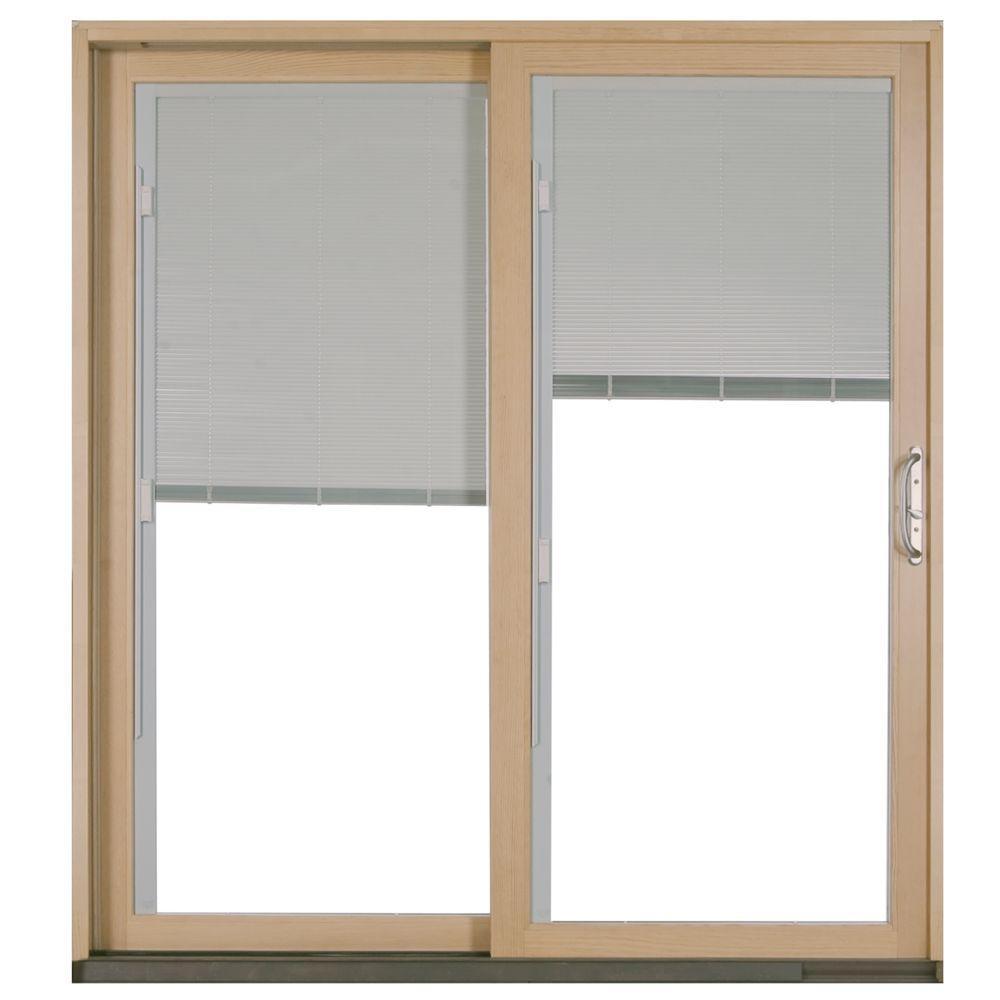 W 2500 White Left Hand Aluminum Clad Wood Sliding Patio Door P73407   The  Home Depot