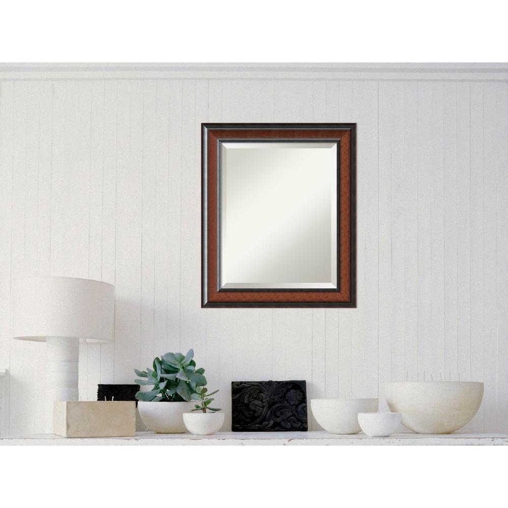 Cyprus Walnut Wood 21 in. W x 25 in. H Traditional Framed Mirror