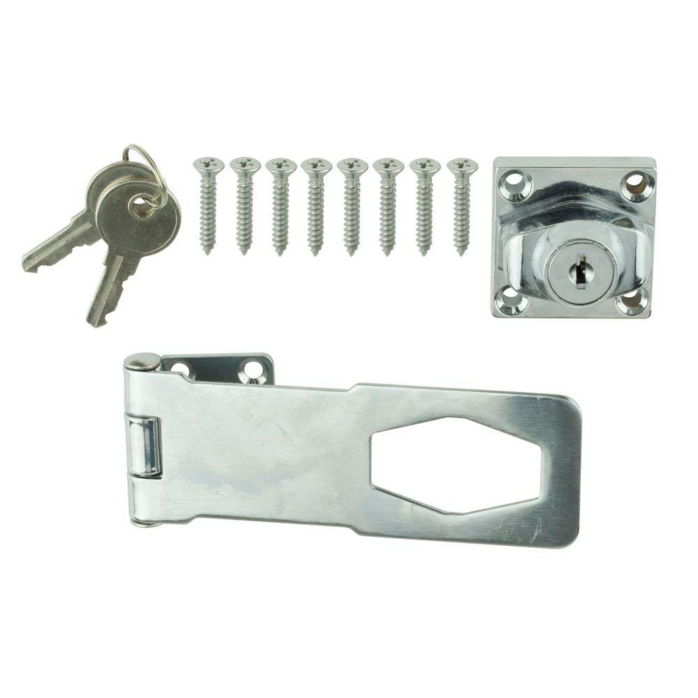 Everbilt 4 1 2 In Chrome Key Locking Hasp 13527 The
