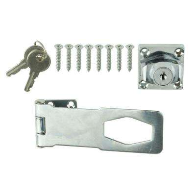 4-1/2 in. Chrome Key Locking Hasp