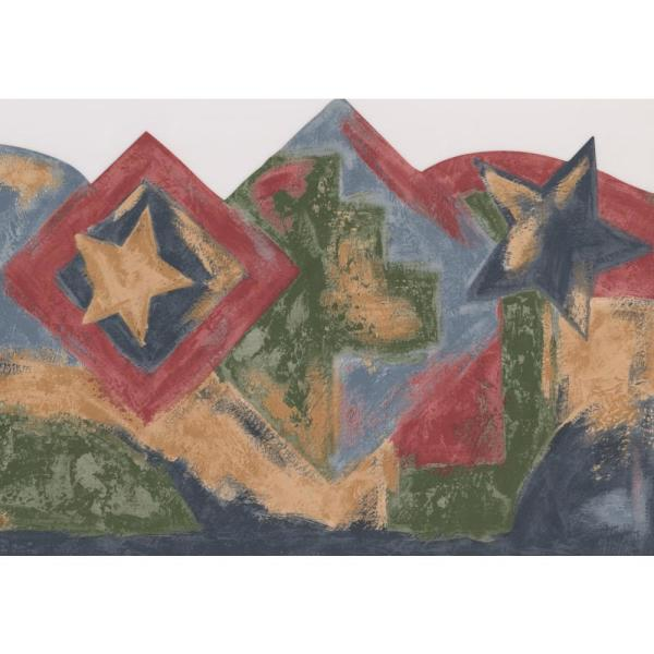Retro Art Vintage Faux Painted Stars Squares Blue Red Brown Green