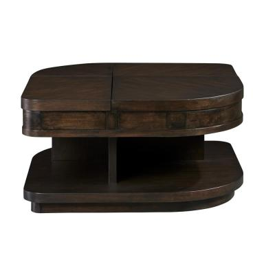Grove Park 19 in. Chocolate and Mahogany Double-Lift Wedge Cocktail Table