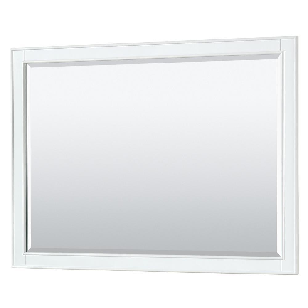 Deborah 46 in. W x 33 in. H Framed Wall Mirror in White