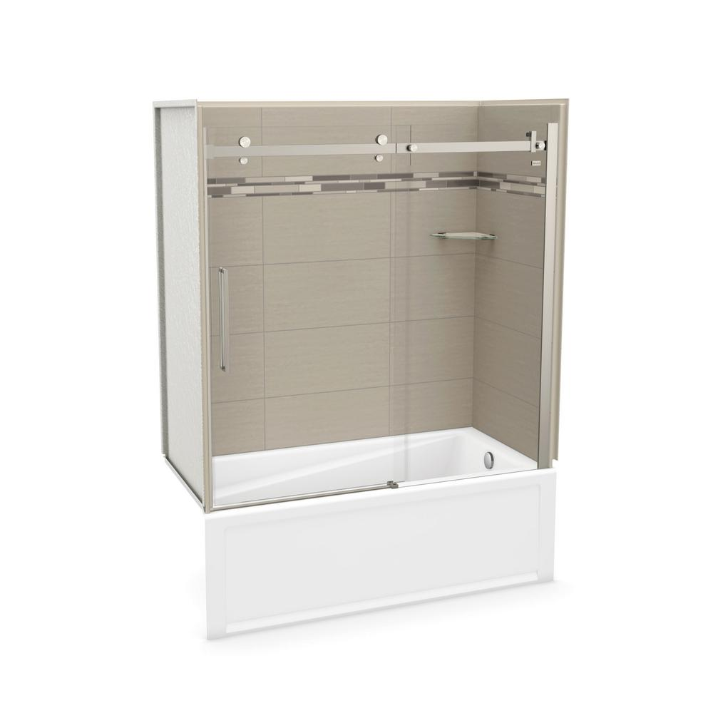MAAX Utile Origin 30 in. x 59.8 in. x 81.4 in. Right Drain Alcove Bath and Shower Kit in Greige with Brushed Nickel Door