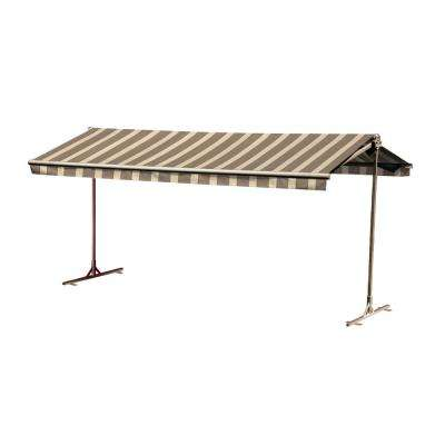 12 ft. Oasis Freestanding Motorized Retractable Awning (120 in. Projection) with Remote in Island Brown