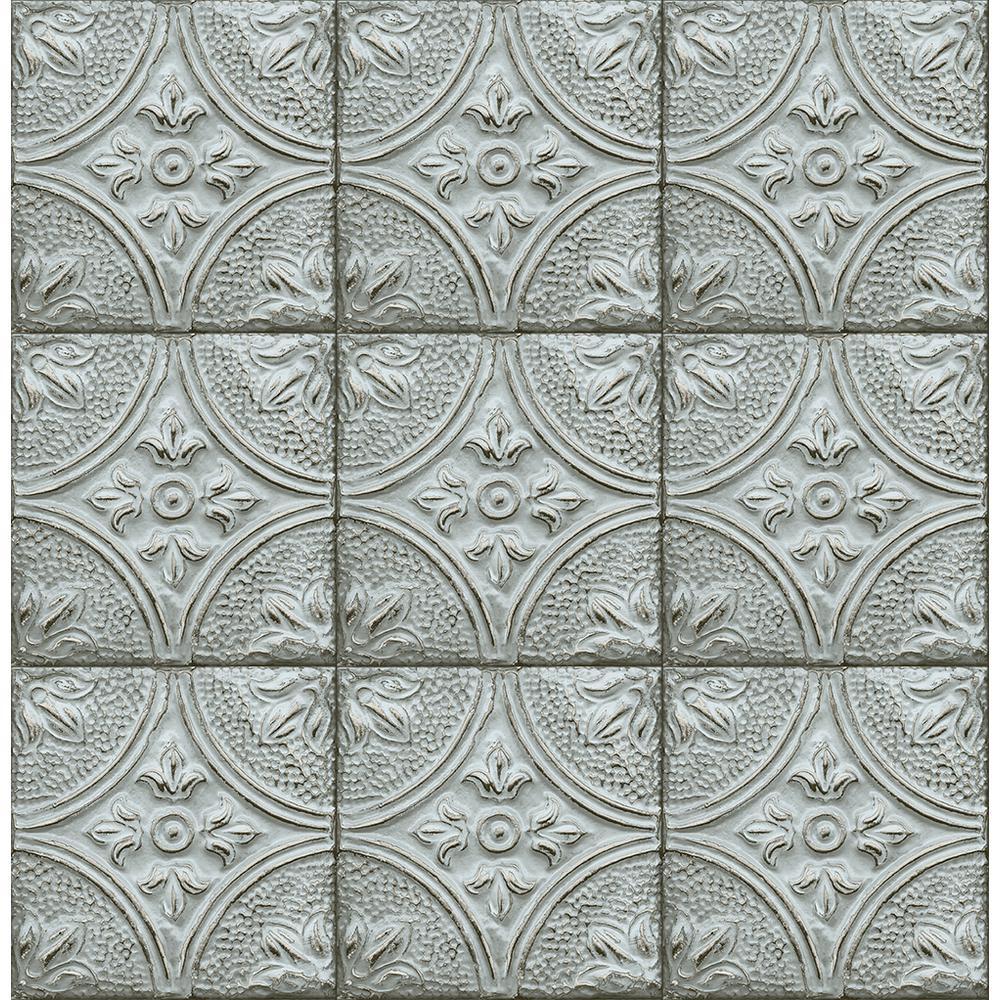 Brewster 8 in. x 10 in. Brasserie Light Blue Tin Ceiling Tile ...