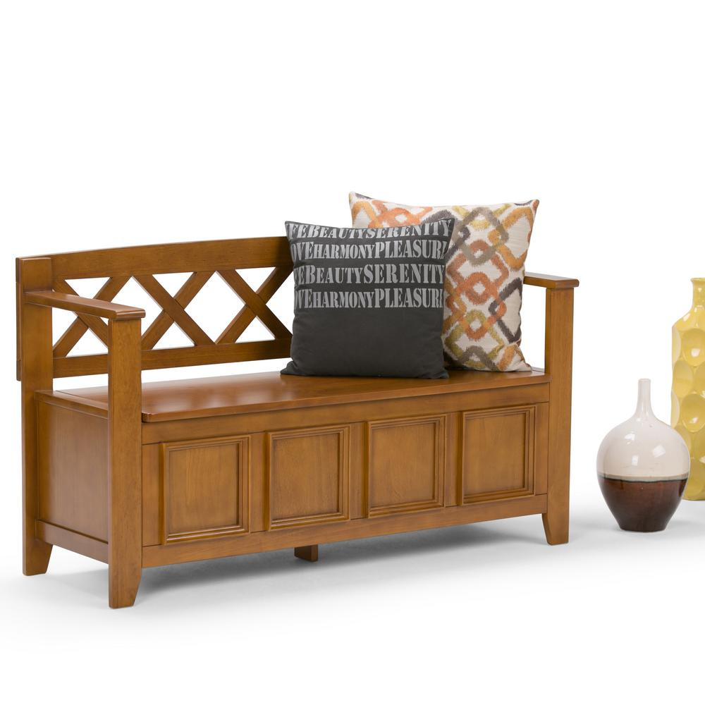 Simpli Home Amherst Light Avalon Brown Storage Bench Axcab