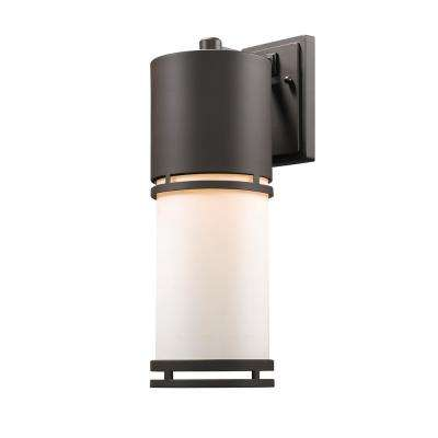 Seija 75-Watt Equivalent Outdoor Deep Bronze Integrated LED Wall Mount Sconce with Matte Opal Glass Shade