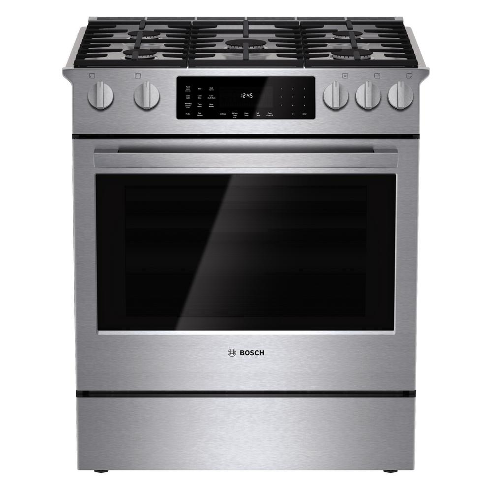 Bosch 800 Series 30 in. 4.6 cu. ft. Slide-In Dual Fuel Ra...