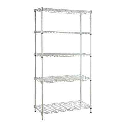 5-Tier Metal Garage Storage Shelving Unit in Chrome (48 in. W x 72 in. H x 18 in. D)