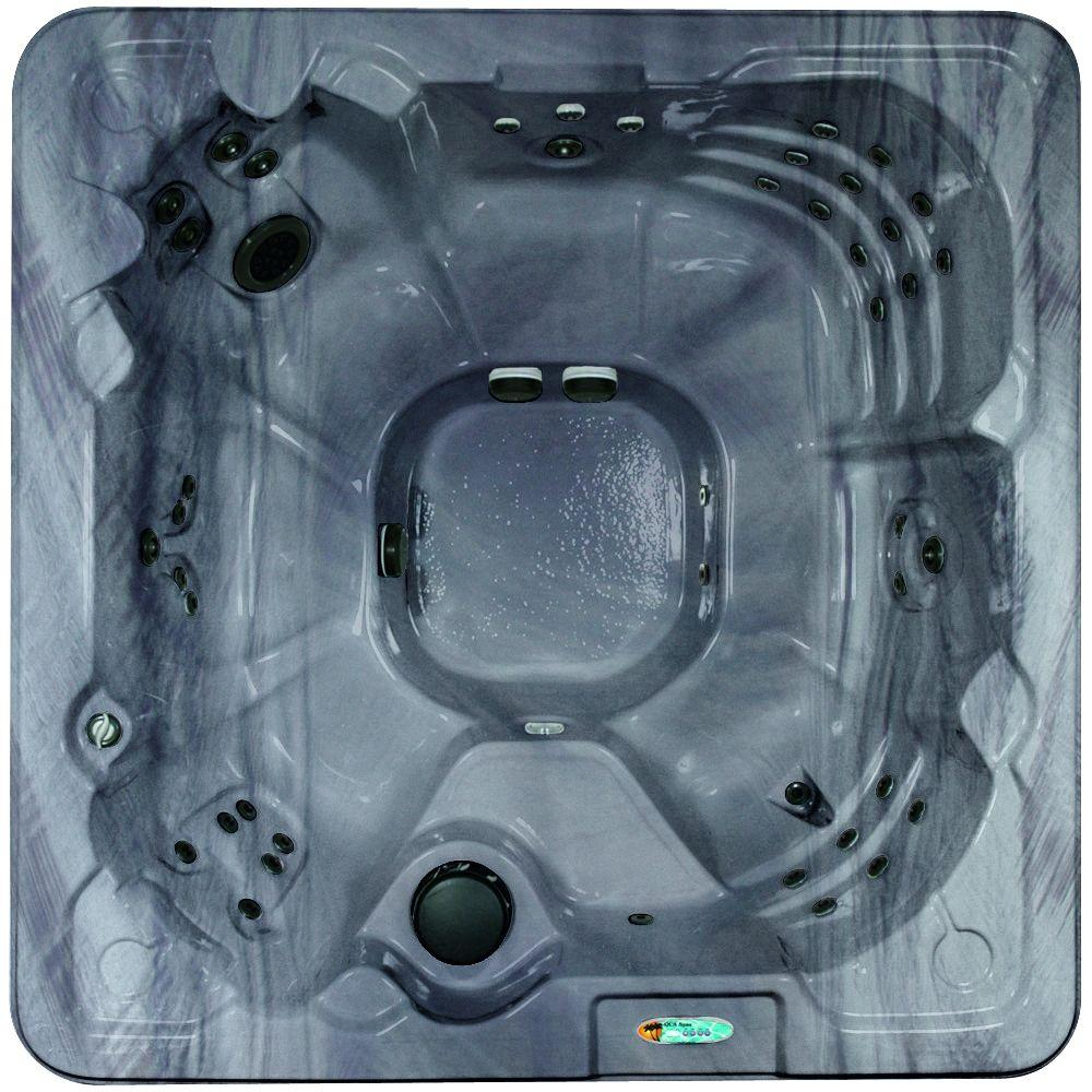 Corsica 8-Person Luxurious 90-Jet Standard Hot Tub w/Ozonator LED Light, Polar