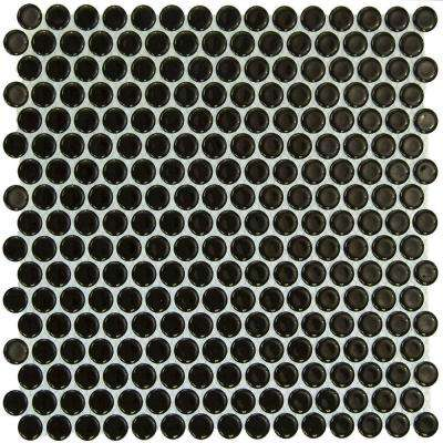 Bliss Penny Round Black 12 in. x 12 in. x 10 mm Polished Ceramic Wall Tile