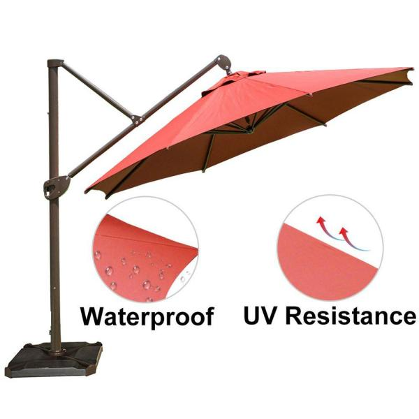 Abba Patio 11 Ft Hanging Cantilever Umbrella With Cross Base And Umbrella Cover Offset Patio Umbrella In Dark Red Apb2350dr The Home Depot