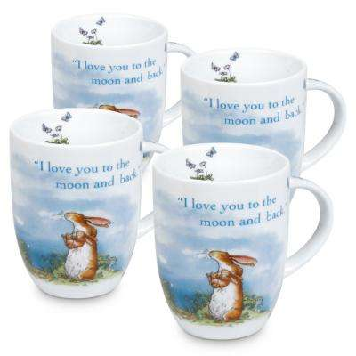 """Konitz 4-Piece Guess How Much I Love You """"I Love You to the Moon and Back"""" Porcelain Mug Set"""