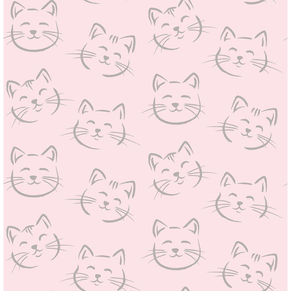 Brewster 56 4 Sq Ft Purr Pink Cat Wallpaper Hn002613 The Home Depot