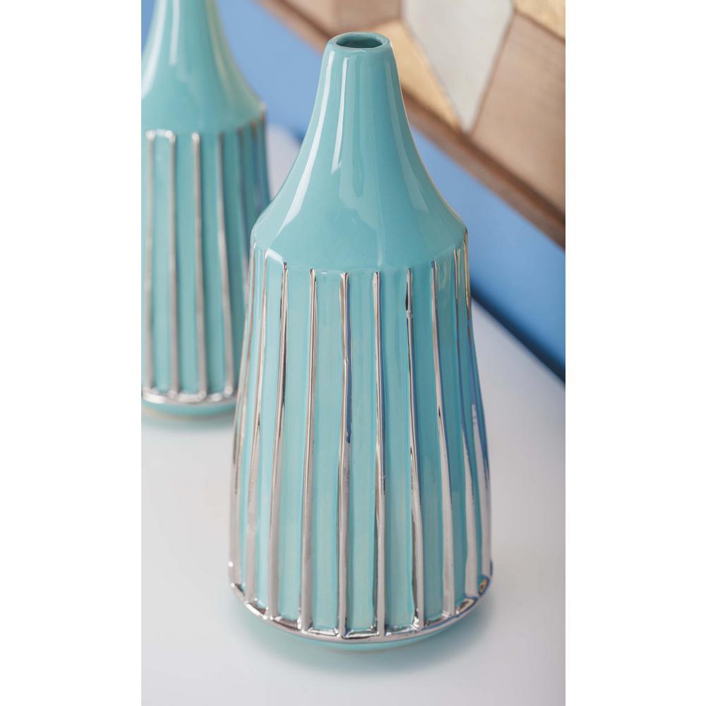 13 in. Glazed Blue and Silver Ceramic Decorative Vase