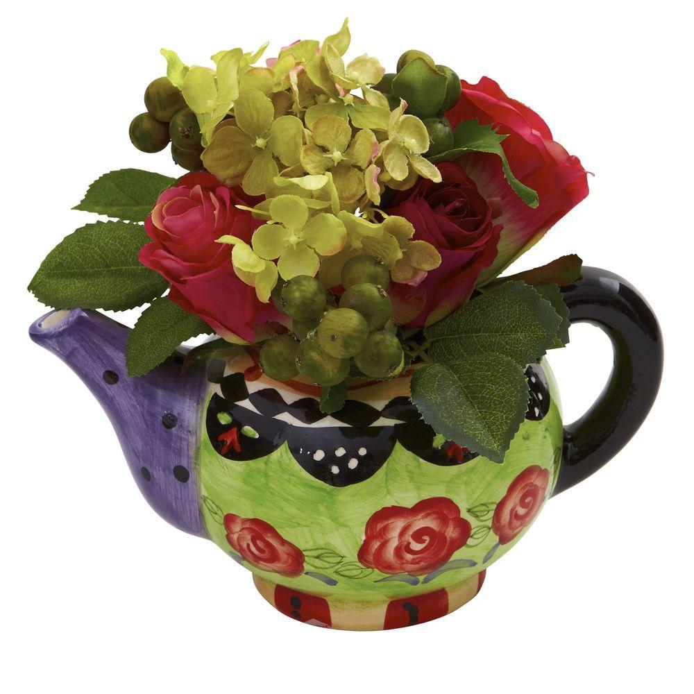 Rose and Hydrangea with Decorative vase
