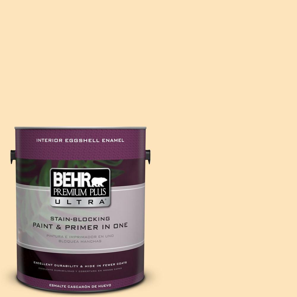 BEHR Premium Plus Ultra 1-gal. #BIC-28 Butter Creme Eggshell Enamel Interior Paint