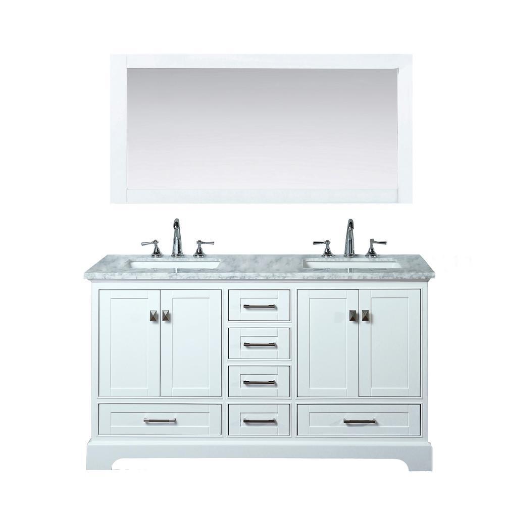 stufurhome Newport 60 in. W x 22 in. D Vanity in White with Marble Vanity Top in Carrara White and Mirror