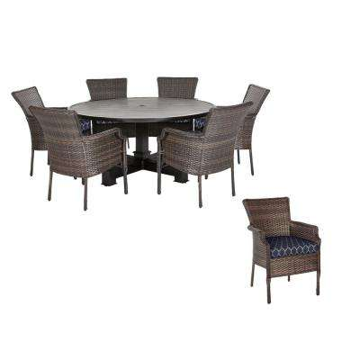 Grayson 7-Piece Brown Wicker Outdoor Patio Dining Set with CushionGuard Midnight Trellis Navy Blue Cushions