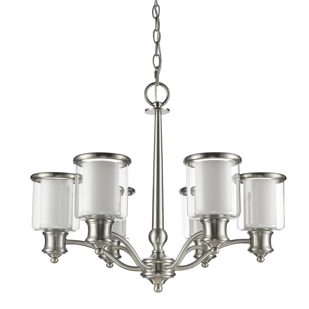 Acclaim lighting peyton indoor 6 light raw brass with crystal giuliana indoor 6 light satin nickel chandelier with glass shades arubaitofo Images