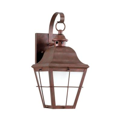 Chatham 1-Light Weathered Copper Outdoor 14.5 in. Wall Lantern Sconce