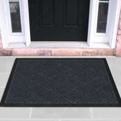 Charcoal 18 in. x 30 in. Ribbed Carpet Natural Rubber Door Mat