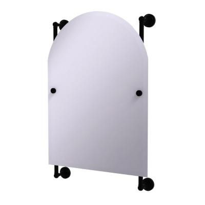 Dottingham Collection Arched Top Frameless Rail Mounted Mirror in Matte Black