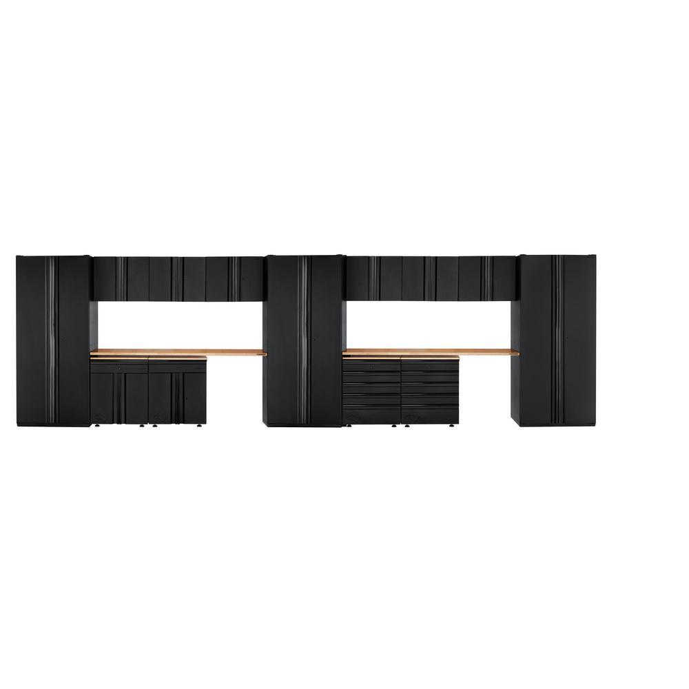 Husky Heavy Duty Welded 276 in. W x 81 in. H x 24 in. D Steel Garage Cabinet Set in Black (15-Piece)