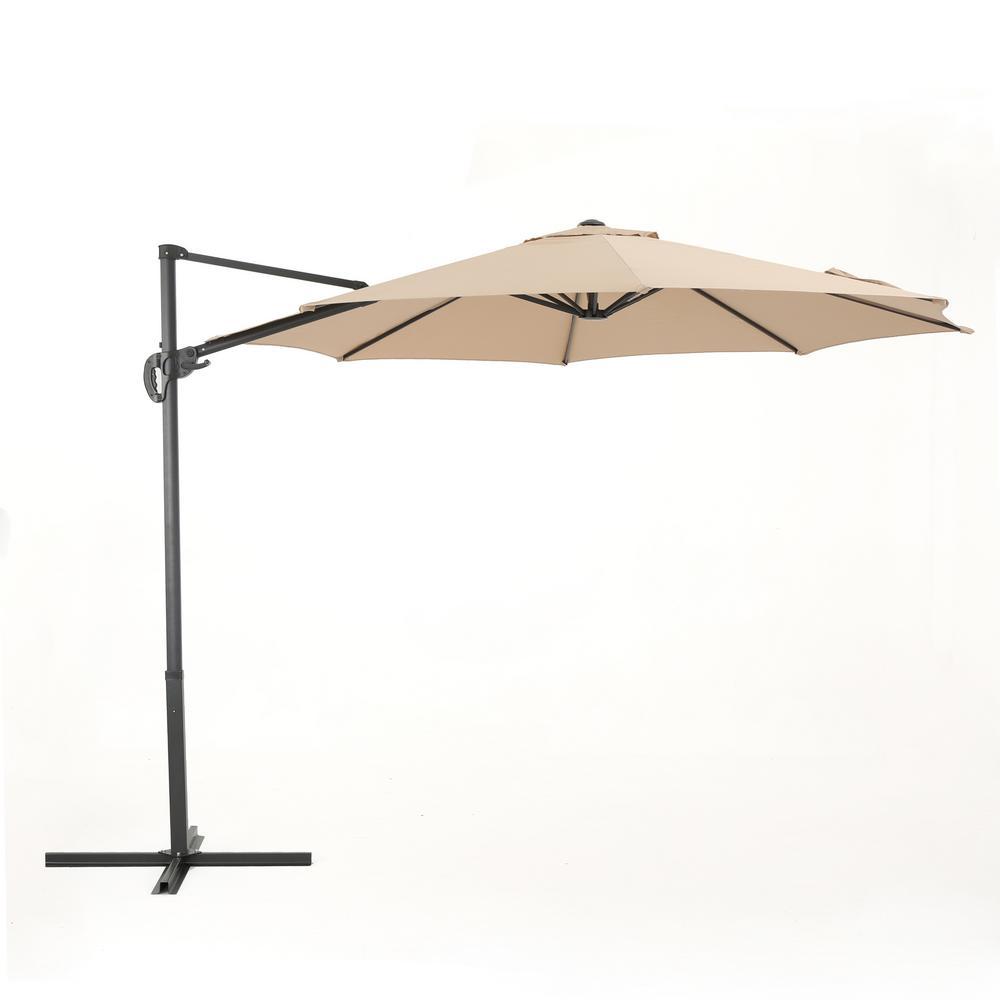 9.5 ft. Steel Cantilever Tilt Patio Umbrella in Sand
