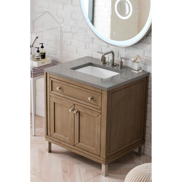 Chicago 30 in. Single Bath Vanity in Whitewashed Walnut with Quartz Vanity Top in Grey Expo with White Basin