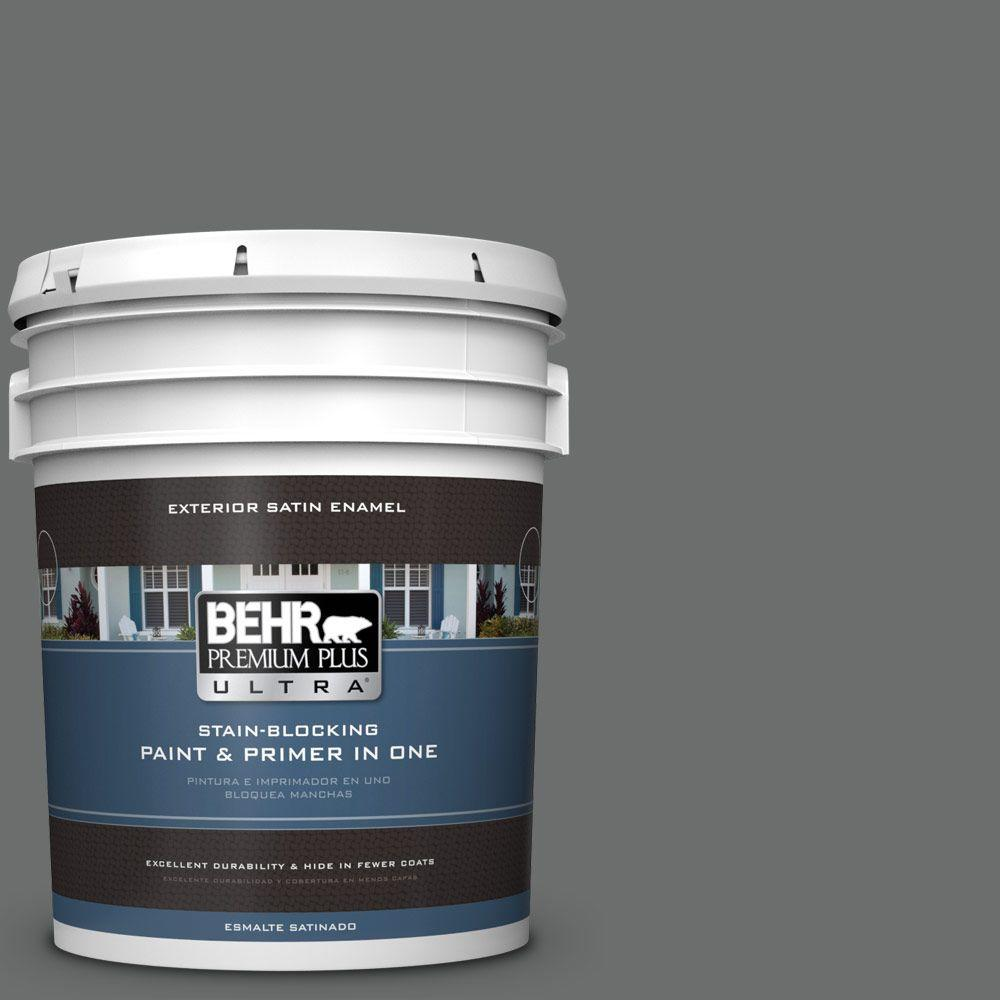 5 gal. #HDC-AC-17A Welded Iron Satin Enamel Exterior Paint