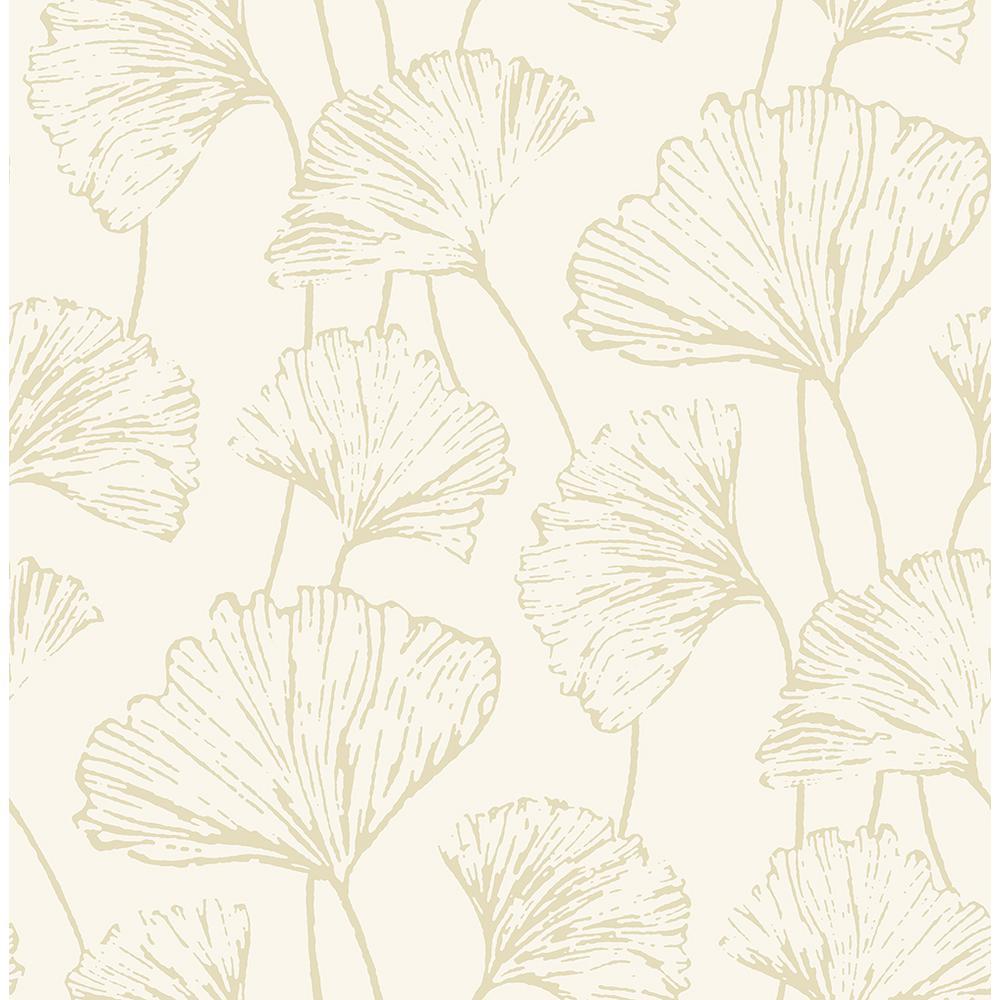 8 in. x 10 in. Reverie Gold Ginkgo Wallpaper Sample