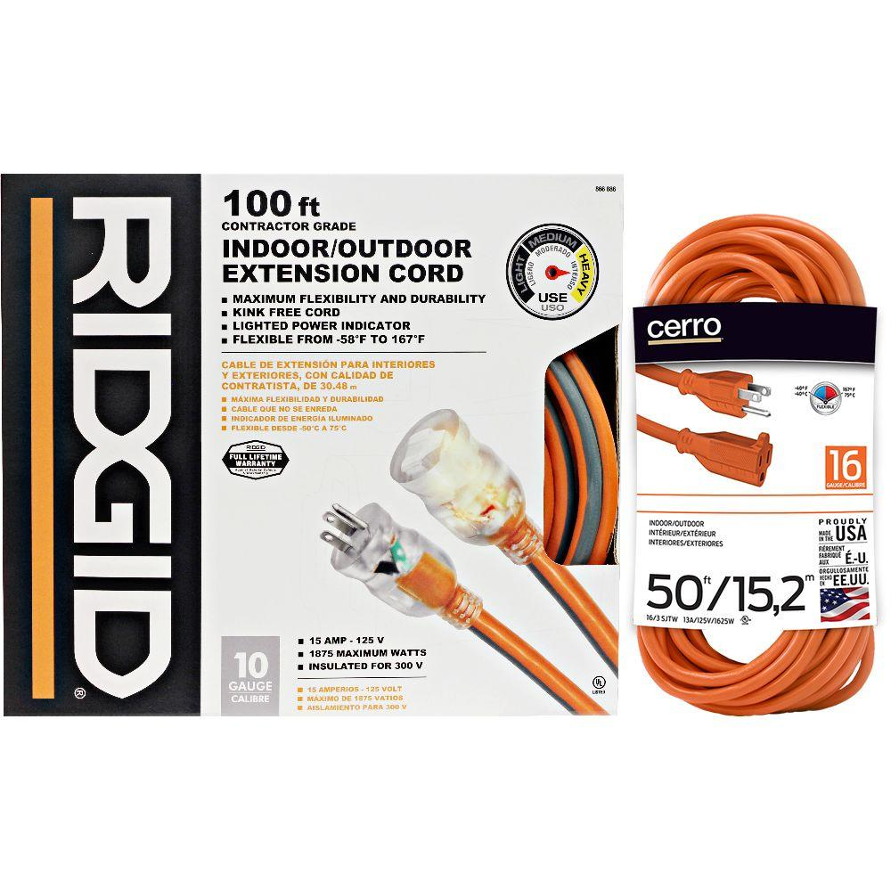 Cerro RIDGID 100 ft. 10-3 Extension Cord + Free 50 ft. 16-3 ...