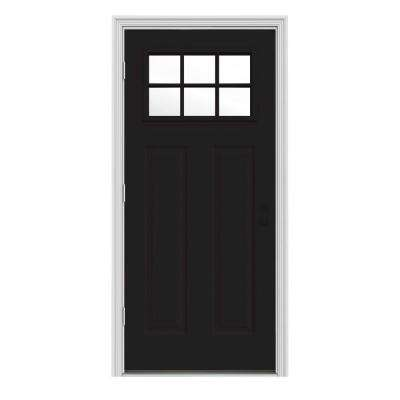 34 in. x 80 in. 6 Lite Craftsman Black Painted Steel Prehung Right-Hand Outswing Front Door w/Brickmould