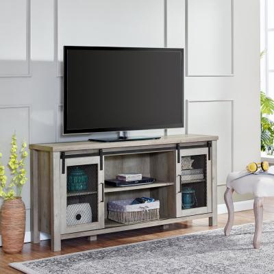 58 in. Grey Wash Sliding Mesh Door Industrial TV Stand
