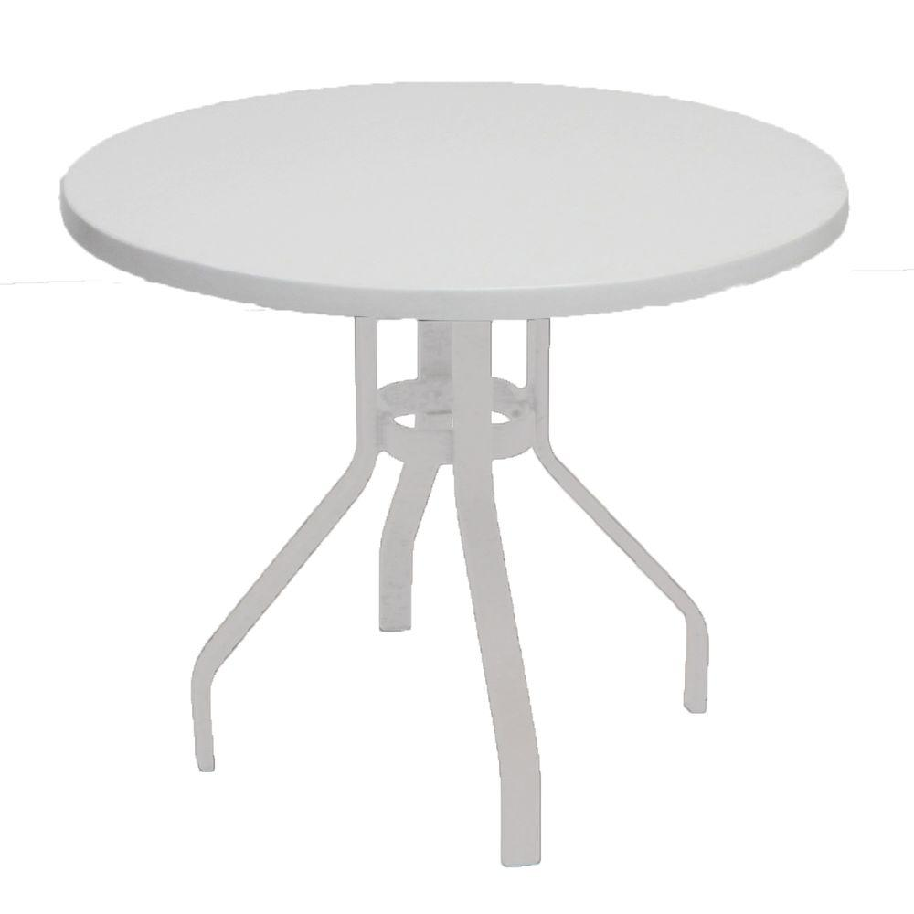 Marco Island 36 In. White Round Commercial Fiberglass Metal Outdoor Patio  Dining Table B36 W   The Home Depot