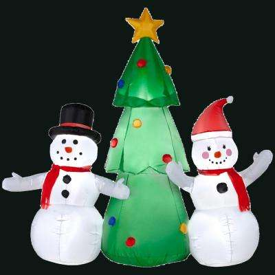 66.14 in. L x 27.17 in. W x 62.2 in. H Inflatable Snowman Family Scene