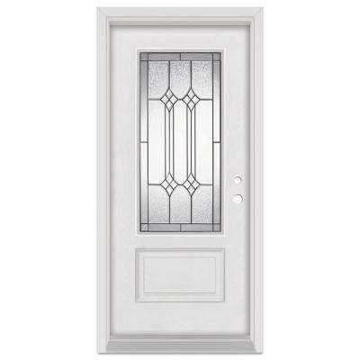 33.375 in. x 83 in. Orleans Left-Hand Patina Finished Fiberglass Mahogany Woodgrain Prehung Front Door Brickmould
