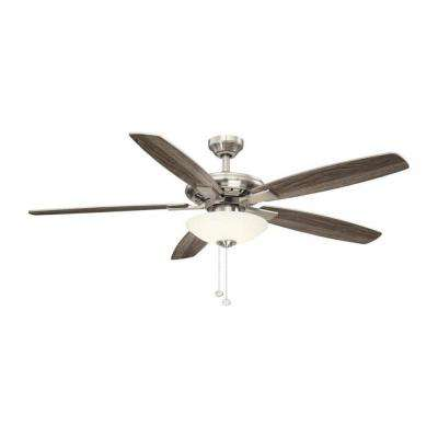 Menage 56 in. Integrated LED Indoor Low Profile Brushed Nickel Ceiling Fan with Light Kit