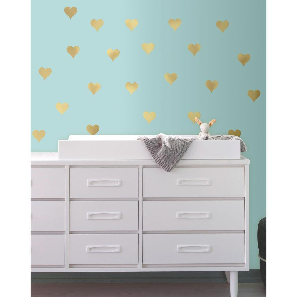 Roommates 5 in w x 115 in h gold heart 24 piece peel and stick h gold heart 24 piece peel and stick wall decal rmk3074scs the home depot amipublicfo Image collections