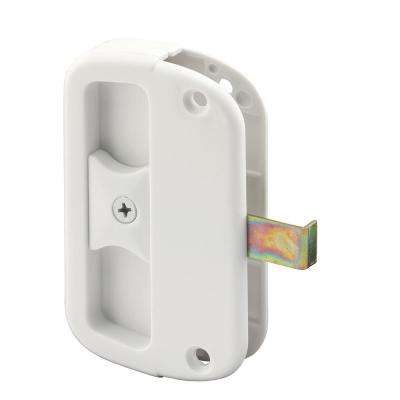 1-7/16 in. Projection Sliding Screen Door White Steel Latch and Plastic Pull