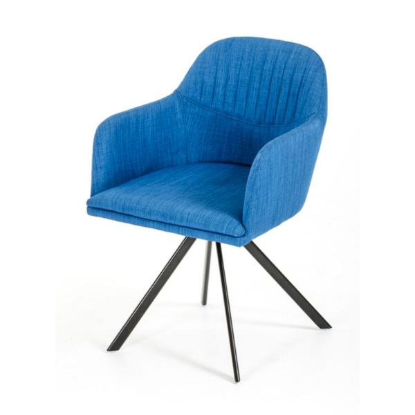 Valerie Blue Fabric and Metal Dining Arm Chair