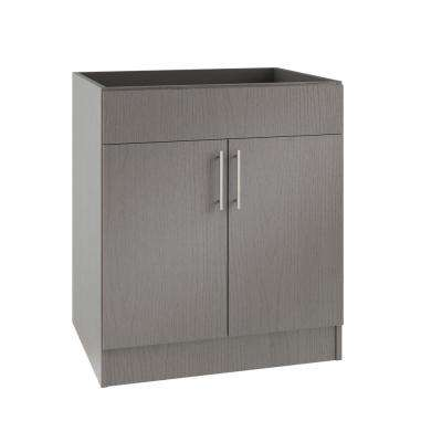 Assembled 30x34.5x24 in. Miami Island Sink Outdoor Kitchen Base Cabinet with 2 Doors in Rustic Gray